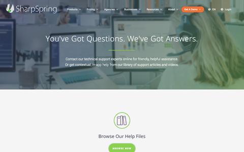 Screenshot of Support Page sharpspring.com - Customer Support - SharpSpring - captured April 9, 2019