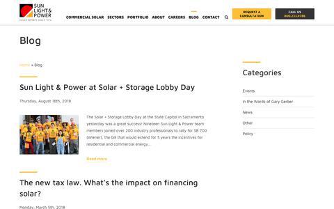 Screenshot of Blog sunlightandpower.com - Sun Light & Power's Blog: Your guide to Solar Policy And News. - captured Oct. 19, 2018