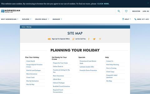 Screenshot of Site Map Page ncl.com - Site Map | Norwegian Cruise Deals & Cruise Destinations | Norwegian Cruise Line - captured Dec. 12, 2018