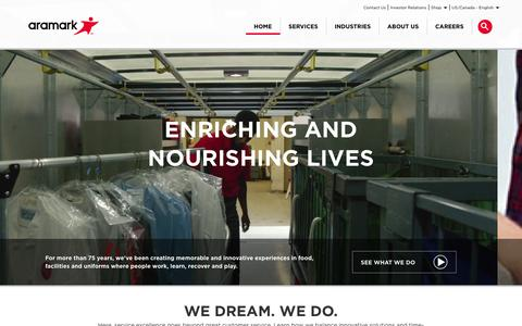 Screenshot of Home Page aramark.com - Aramark | Food, Facilities, and Uniform Services - captured Dec. 26, 2015