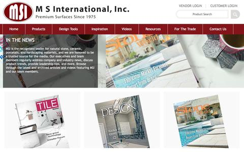 Screenshot of Press Page msistone.com - In the News | M S International, Inc. | Premium Surfaces - captured May 10, 2016