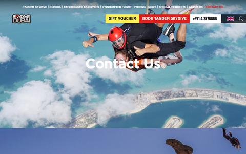 Screenshot of Contact Page skydivedubai.ae - Contact Us | Skydive Dubai - captured Aug. 12, 2019