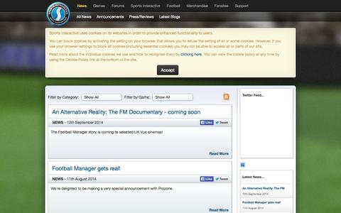 Screenshot of Press Page sigames.com - Sports Interactive, the developers of Football Manager - Latest News, Blogs and Announcements - captured Sept. 18, 2014