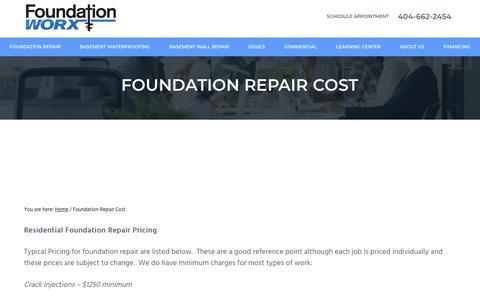 Screenshot of Pricing Page foundation-worx.com - Foundation Repair Cost - Foundation Repair Atlanta, GA | Foundation-Worx - captured Oct. 11, 2018