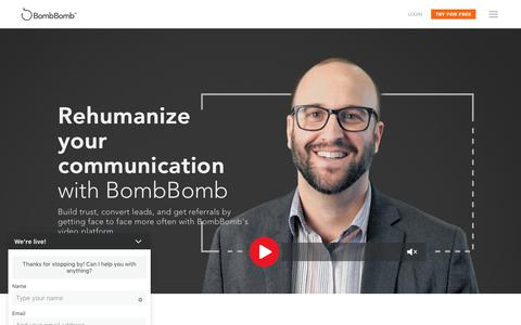 Screenshot of Home Page bombbomb.com - BombBomb - Video Email from Gmail, Mobile, and Web - captured June 12, 2018