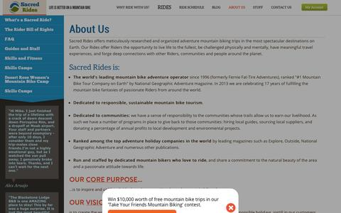 Screenshot of About Page sacredrides.com - About Us | Sacred Rides - captured Sept. 23, 2014