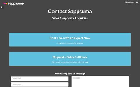Screenshot of Contact Page sappsuma.com - Contact | Sappsuma - captured Sept. 30, 2014