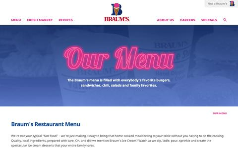 Screenshot of Menu Page braums.com - Braum's Ice Cream & Burger Restaurant Menu and Drive Thru | Braum's - captured Oct. 2, 2018