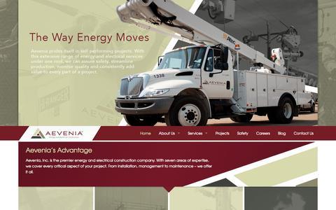 Screenshot of Home Page aevenia.com - Aevenia - Energy & Electrical Construction - captured Jan. 23, 2015