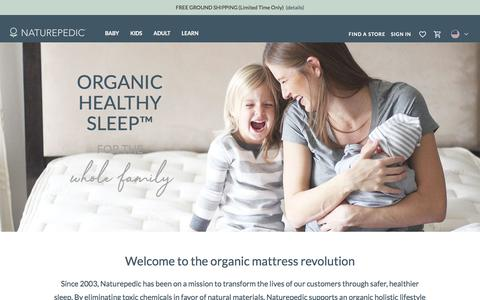 Screenshot of Home Page naturepedic.com - Organic Healthy Sleep for the Whole Family | Naturepedic - captured Nov. 23, 2019