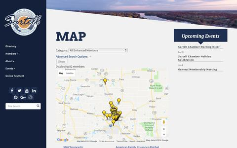 Screenshot of Maps & Directions Page sartellchamber.com - Map - Sartell Area Chamber of Commerce, Inc., MN - captured Oct. 1, 2018