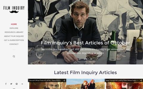 Screenshot of Home Page filminquiry.com - Film Inquiry - captured Nov. 12, 2015