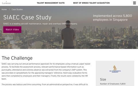 Screenshot of Case Studies Page lumesse.com - SIAEC Case Study | Lumesse - captured June 7, 2017
