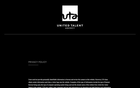 Screenshot of Privacy Page unitedtalent.com - Privacy Policy - United Talent Agency - captured Feb. 17, 2016