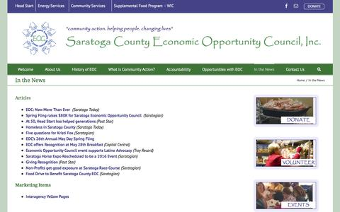 Screenshot of Press Page saratogaeoc.org - Saratoga County EOC   –  In the News - captured Feb. 4, 2016