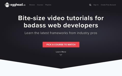 Screenshot of Home Page egghead.io - egghead.io - Learn professional JavaScript tools with Tutorial Videos & Training  @eggheadio - captured Aug. 6, 2016