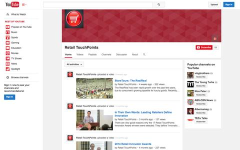 Screenshot of YouTube Page youtube.com - Retail TouchPoints  - YouTube - captured Oct. 29, 2014
