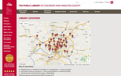 Screenshot of Locations Page cincinnatilibrary.org - Library Locations - captured Jan. 20, 2016