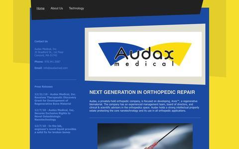 Screenshot of Home Page audaxmed.com - Audax Medical - Home - captured Aug. 11, 2015