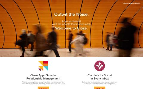 Screenshot of Products Page cloze.com - Cloze - Apps to connect with the people that matter most - captured Nov. 14, 2015