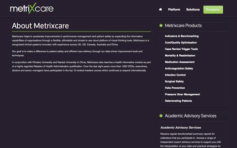 Screenshot of About Page metrixcare.com - About Us - Metrixcare Healthcare Value Analytics to Save Costs and Save Lives - captured Oct. 27, 2014