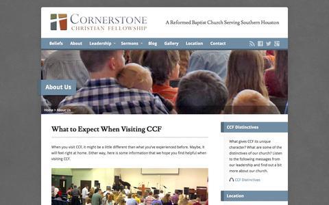 Screenshot of About Page cornerstonecf.net - About Us - Cornerstone Christian Fellowship - captured Oct. 3, 2014