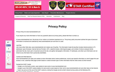 Screenshot of Privacy Page mainstreetshell.com - Privacy Policy | Main Street Shell Service - Expert Auto Care and Smog Check in Santa Maria - captured Oct. 4, 2014
