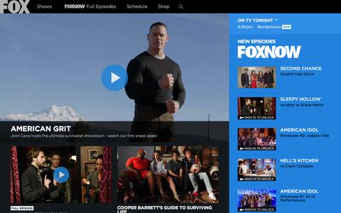 Screenshot of Home Page fox.com - FOX Broadcasting Company | Full Episodes, Shows, Schedule - captured Feb. 14, 2016