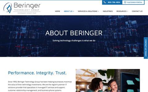 Screenshot of About Page beringer.net - About Us - NJ, PA, DE, MD, FL | Beringer Technology Group - captured Oct. 5, 2018