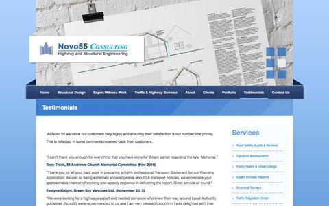 Screenshot of Testimonials Page novo55.com - Testimonials | Structural Design Associates | Novo55 | Novo55 - captured Oct. 22, 2017