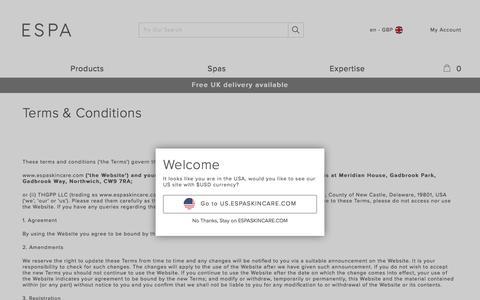 Screenshot of Terms Page espaskincare.com - Terms & Conditions | ESPA - captured Sept. 22, 2017