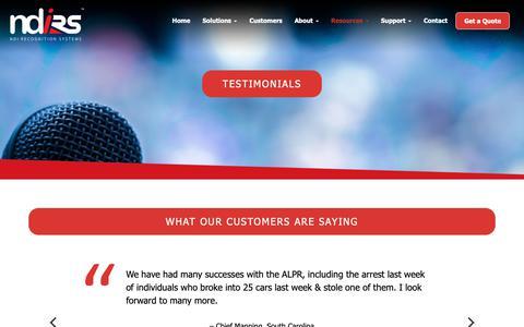Screenshot of Testimonials Page ndi-rs.com - Testimonials   NDI Recognition Systems - captured Sept. 28, 2018