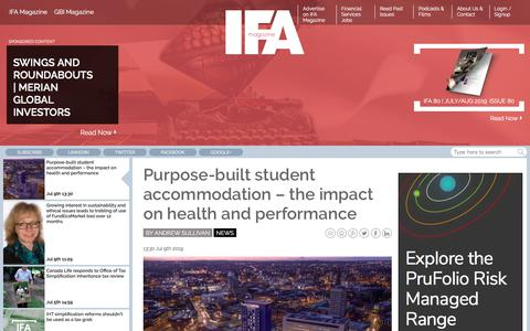 Screenshot of Press Page ifamagazine.com - Purpose-built student accommodation – the impact on health and performance - captured July 9, 2019