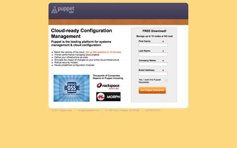 Screenshot of Landing Page puppetlabs.com - Puppet Labs: Cloud-ready Configuration Management - captured Oct. 27, 2014