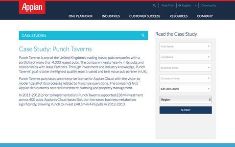 Screenshot of Case Studies Page appian.com - Punch Taverns Case Study | Appian - captured June 22, 2018