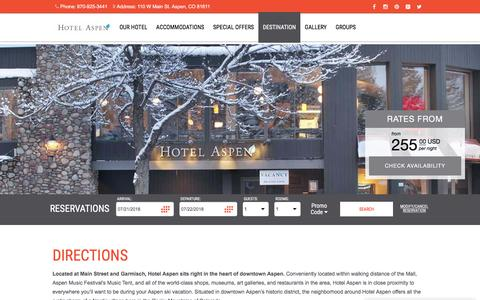 Screenshot of Maps & Directions Page hotelaspen.com - Directions to Hotel Aspen - Downtown Aspen Hotel | Hotel Aspen - captured July 22, 2018