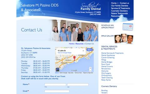 Screenshot of Contact Page Maps & Directions Page southportfamilydental.com - Fairfield, CT Dentist | Contact Us | Southport Family DentalFairfield CT Dentist | Southport Family Dental - captured Oct. 26, 2014