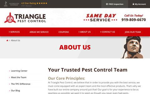 Screenshot of About Page trianglepest.com - Our Trusted NC Exterminators | Triangle Pest Control - captured Oct. 20, 2018