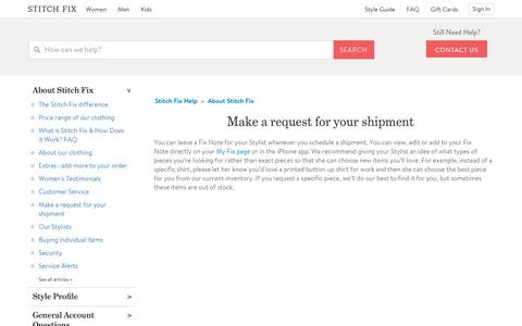 Screenshot of Support Page stitchfix.com - Make a request for your shipment – Stitch Fix Help - captured April 25, 2019