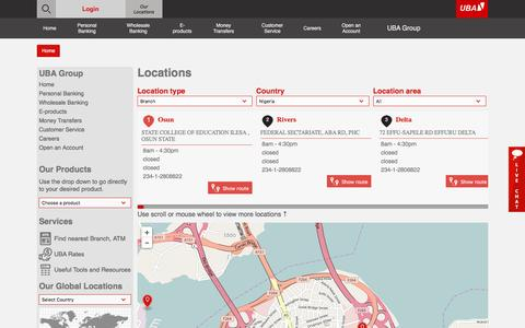 Screenshot of Locations Page ubagroup.com - UBA Bank - captured May 11, 2017