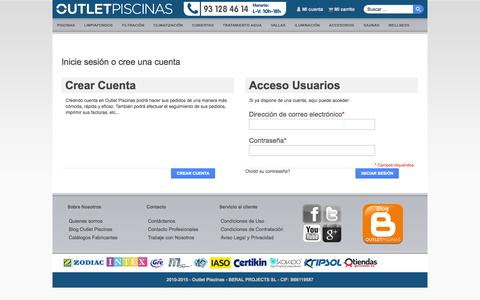 Screenshot of Login Page outlet-piscinas.com - Outlet Piscinas: Acceso del cliente - captured Oct. 29, 2014