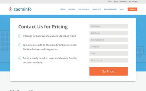 Screenshot of Pricing Page zoominfo.com - ZoomInfo Pricing | ZoomInfo - captured Sept. 4, 2017