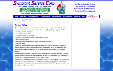 Screenshot of Privacy Page symbiontservice.com - Privacy Policy | Symbiont Service - captured Oct. 6, 2014