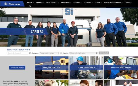 Screenshot of Jobs Page shermco.com - Careers - Shermco industries - captured Nov. 9, 2019