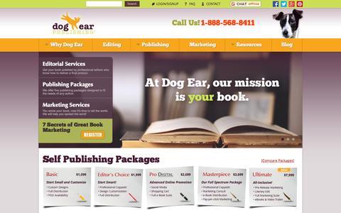 Screenshot of Home Page dogearpublishing.net - Dog Ear Self Publishing Company - Make & Publish Your Own Books - captured Oct. 1, 2015