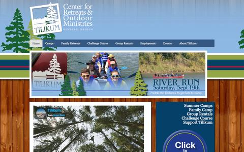 Screenshot of Home Page camptilikum.org - Tilikum | Christian Summer Camp and Year round Retreat Center - captured Oct. 11, 2015