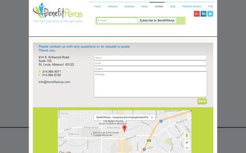 Screenshot of Contact Page benefitperqs.com - Contact BenefitPerqs - captured Nov. 22, 2016
