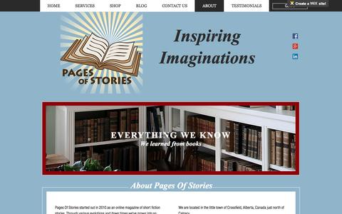 Screenshot of About Page pagesofstories.com - Pages Of Stories | ABOUT - captured May 13, 2017