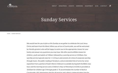 Screenshot of Services Page cside.org - Sunday Services – Countryside - captured Sept. 5, 2017
