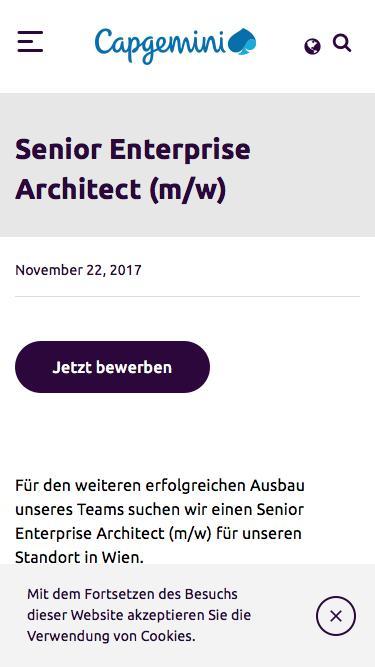 Screenshot of Jobs Page  capgemini.com - Senior Enterprise Architect (m/w) – Capgemini Österreich